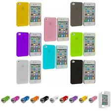 For iPhone 4 4S 0.3mm Super Ultra Thin Hard Case Cover+Car Charger+LCD