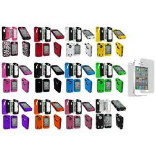 Hybrid Rugged Hard/Soft Cover Case+Protector+Screen Protector for iPhone 4S