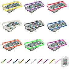 For iPhone 4S 4 TPU Frame Bumper Case Cover Metal Buttons+Screen Protector
