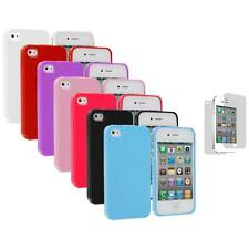Glitter Bling TPU Rubber Soft Cover Case+Screen Protector for iPhone 4 4G 4S