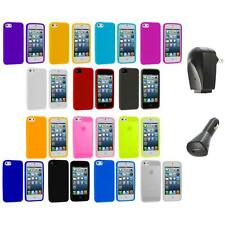 Color Silicone Gel Rubber Soft Skin Case Cover+2X Chargers for iPhone 5 5S