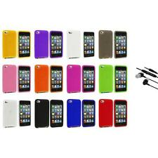 Color Silicone Soft Case Cover+Earphone Mic for iPod Touch 4th Generation 4G 4