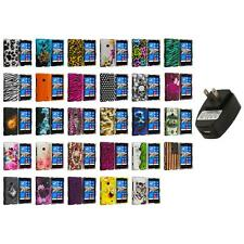 For Nokia Lumia 521 Hard Design Matte Rubberized Skin Case Cover Wall Charger