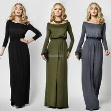 Women Sexy Fashion Boat Neck Long Maxi Dress Plain Cocktail Evening Party Gown
