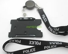 POLICE LANYARD Id card holder BADGE REEL  identity tag photo BLUE BLACK