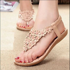 Women's Bohemia Floral Flat Shoes Beach Sandals Thongs Slippers Flip Flops L08