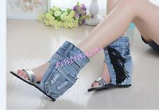 Womens Open Toe Stylish Denim Retro Vintage Sandals High Top Boots Tassels Wedge