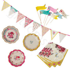 Truly Scrumptious Tea Party Set Napkins Plates Floral Bunting Cake Decorations