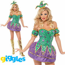 Ladies Fever Harlequin Shine Sequins Jester Clown Circus Fancy Dress Outfit
