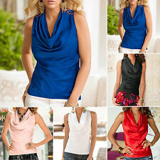 Sexy Womens Summer Cowl Neck Draped Vest Top Sleeveless Blouse Casual Tank Shirt