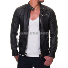 Mens Black Leather Jacket Genuine Leather OR Faux cross stitch Biker Style