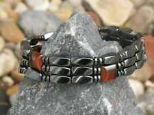 Men's Women's Magnetic Bracelet Anklet SUPER STRONG Clasp RED TIGER EYE 3row