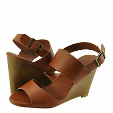 Women's Shoes Bamboo Whimsical 05M Double Band Wedge Sandal Chestnut *New*