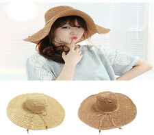 Fashion Womens Wide Large Brim Floppy Summer Beach Sun Hat Straw Derby Cap Retro