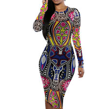 New Sexy Women Bandage Bodycon long sleeve Print Club Party Cocktail Dress
