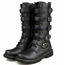 Fashion New Punk Rock MENS BLACK GOTH PUNK ROCK BAND BUCKLE BOOTS Hot!!!