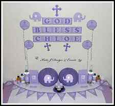 ** ELEPHANT CHRISTENING Baptism PERSONALISED Party Decorations Scene Setter **