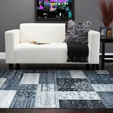 Intricate Patchwork Designer Floor Area Rug and Runners Blue