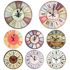 Creative Home/Shop Decoration Living Room Round Wall Clock Vintage Rustic Art