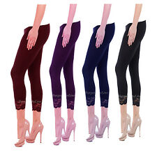 NEW LADIES 3/4 SHORT CROP STRETCHY JEGGINGS TRIM LACE WOMENS LEGGINGS
