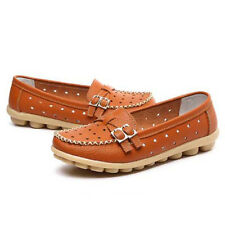 Women Leather Moccasins Slip On Loafers Summer Hollow Flats Beach Walking Shoes