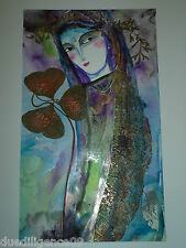 Cuban Cuba Artist Charo Hand SIGNED PaintiNG LADY KNOWS SOMETHING ART HAVANA 39
