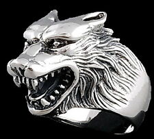 HUGE HEAVY WOLF WEREWOLF VAMPIRE PREDATOR 925 STERLING SOLID SILVER MENS RING