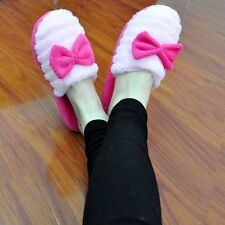 Women Girl's Indoor House Home Soft Furry Slippers Shoes Anti-slip Cute Bowknot