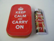Red Keep Calm & Carry On 1OZ Hinged Tobacco Tin & Union jack Keep Calm Lighter
