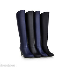Women's Block Heel Shoes Sexy Synthetic Leather Zip Knee High Boots AU Size O023