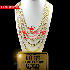 10K AUTHENTIC SOLID YELLOW GOLD CUBAN CURB LINK CHAIN NECKLACE 4.1 MM 16~24 INCH