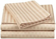 "( 1000TC ) Furnish Home Bed Item's & All Sizes 100% Cotton Striped Style ""Beige"""