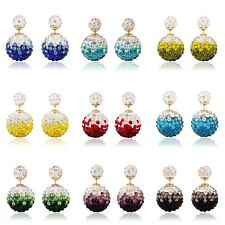 Fashion Bling Candy Color Rainbow Double Side Two Ball Earrings Stud Rhinestone