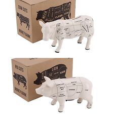 CeramIc Money Box Bank Cow Pig Cuts Butcher Money Kitchen Dad Chef Gift