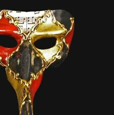 Masquerade Mask Venetian Long Nose Black Gold & Red Mens Fancy Costume Party