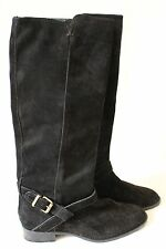 J CREW LOWELL SUEDE LEATHER FLAT BOOTS BLACK $298 09827 SIZE 8
