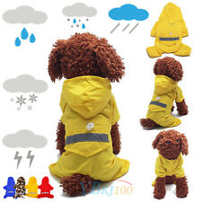 New Dog Puppy Rain Coat Jacket Clothes Pet Waterproof Reflective Hooded Raincoat