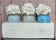 ~Set of 3 Chalk Painted & Distressed Ball/Mason Jars in Rustic Wood Planter Box~