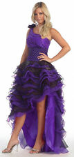 Prom One Shoulder Style Purple Black Homecoming High Low Dress Sale