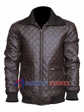 Stylish Men's Brown Embroidered  Quilted Designer Synthetic Leather Jacket