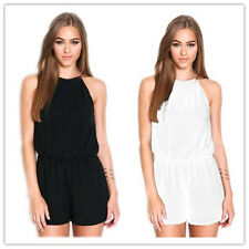 Womens Rompers Halter Strapless Chiffon Fashion Jumpsuit Hollow Back 7GS