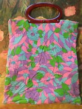 Vtg 1970s Retro Floral Psychedelic Lucite Bakelit Lady's Pride Tote Bag Purse