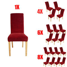 Soft Stretch Short Dining Room Chair Covers Protector Slipcover Removable Wine