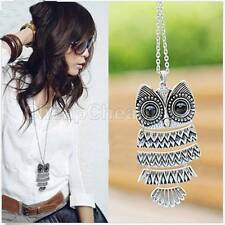 Women Vintage Silver/Copper Owl Pendant Necklaces Long Chain Fashion Jewellery