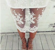 Casual Women Lace Cocktail Spring  Mini Dress Short Party Piece Hollow Summer