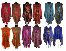 Hot Sale New Chinese Lady Double-Side Butterfly Pashmina Scarf Wrap Shawl Cape