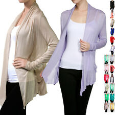 Women Career Basic Long Sleeve Draped Open Front Light Sheer Shawl Cardigan