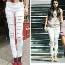 New Fashion Women White Cut-out Punk Ripped Jeans Jeggings Trousers 6 size