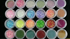24 MIXED POTS OF NAIL ART GLITTER DECORATION CAVIAR BEADS,HEXAGON FLAKES