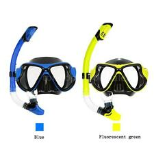 Adult Scuba Snorkeling Swimming Set Glass Diving Mask Goggles + Snorkel YC P1D8